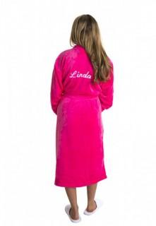 Roze badjas met borduring